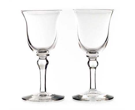 Harry Powell for James Powell and Sons, Whitefriars, a pair of Arts and Crafts liqueur glasses, circa 1900, colourless flint