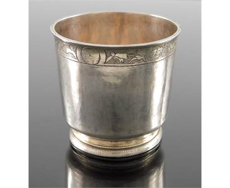 A 16th century Swiss silver and parcel gilt beaker, Leonhard Bram, Zurich circa 1550, footed cylindrical tumbler form, incise
