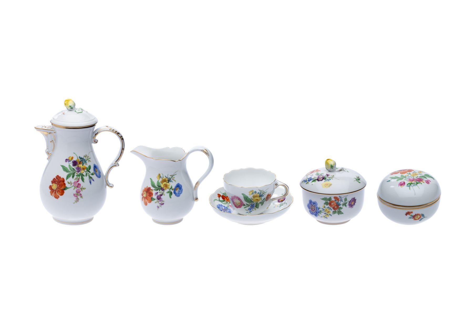 """Meissen Kaffeeservice """"3 Blumen"""" 22 teilig"""