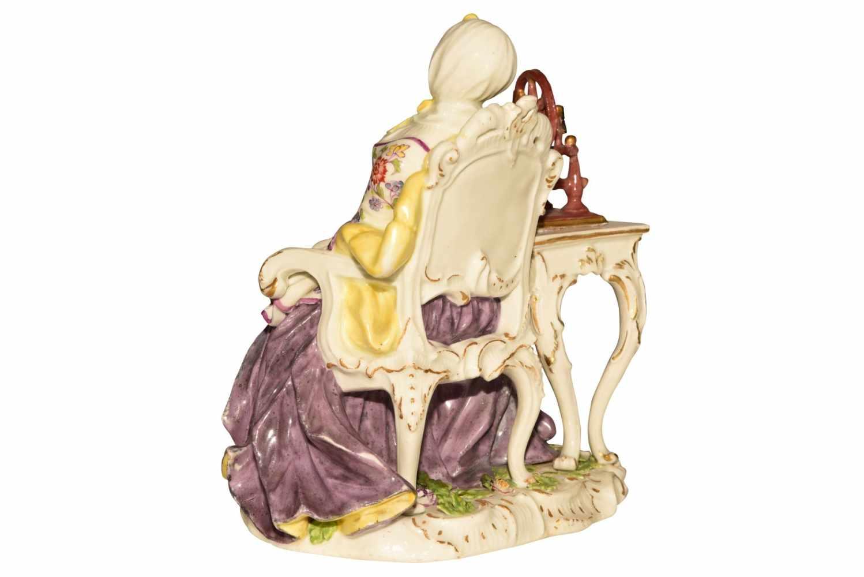 """""""Dame mit Spinnrad"""" Meissen um 1750 - Bild 3 aus 10"""