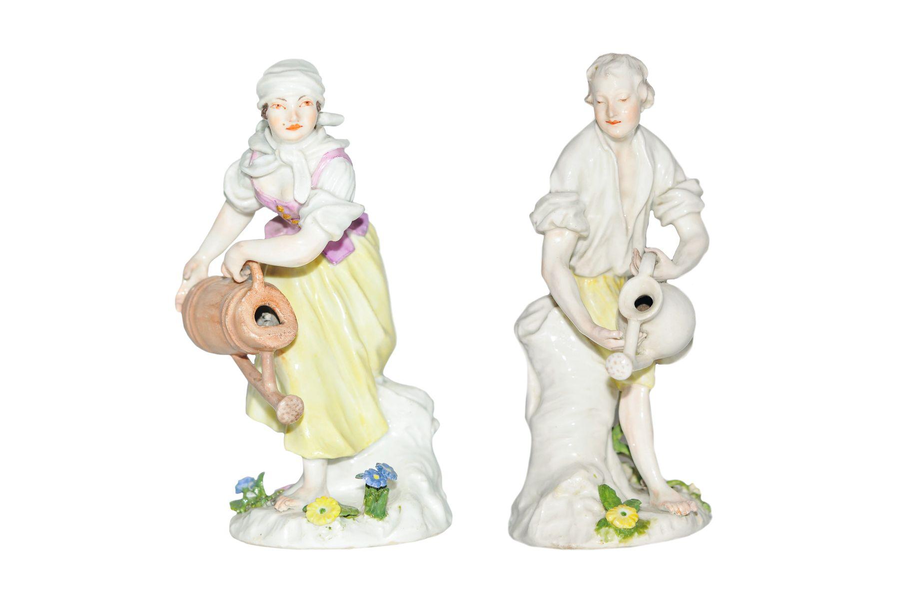 2 Figuren Gärtner und Gärtnerin mit Wasserkannen Meissen 1750