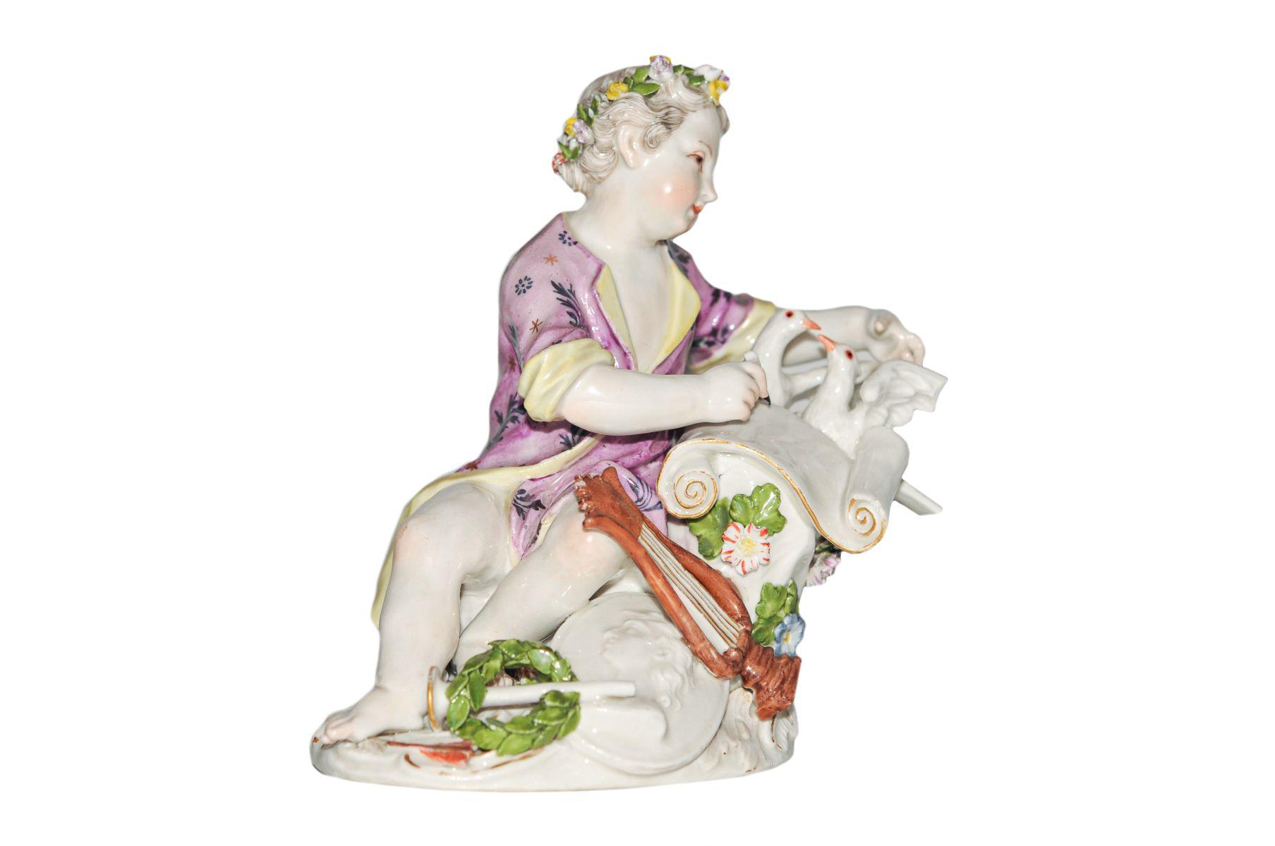 Knabe mit Tauben Meissen 1750