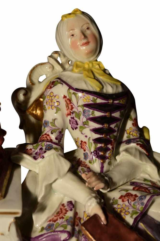 """""""Dame mit Spinnrad"""" Meissen um 1750 - Bild 7 aus 10"""