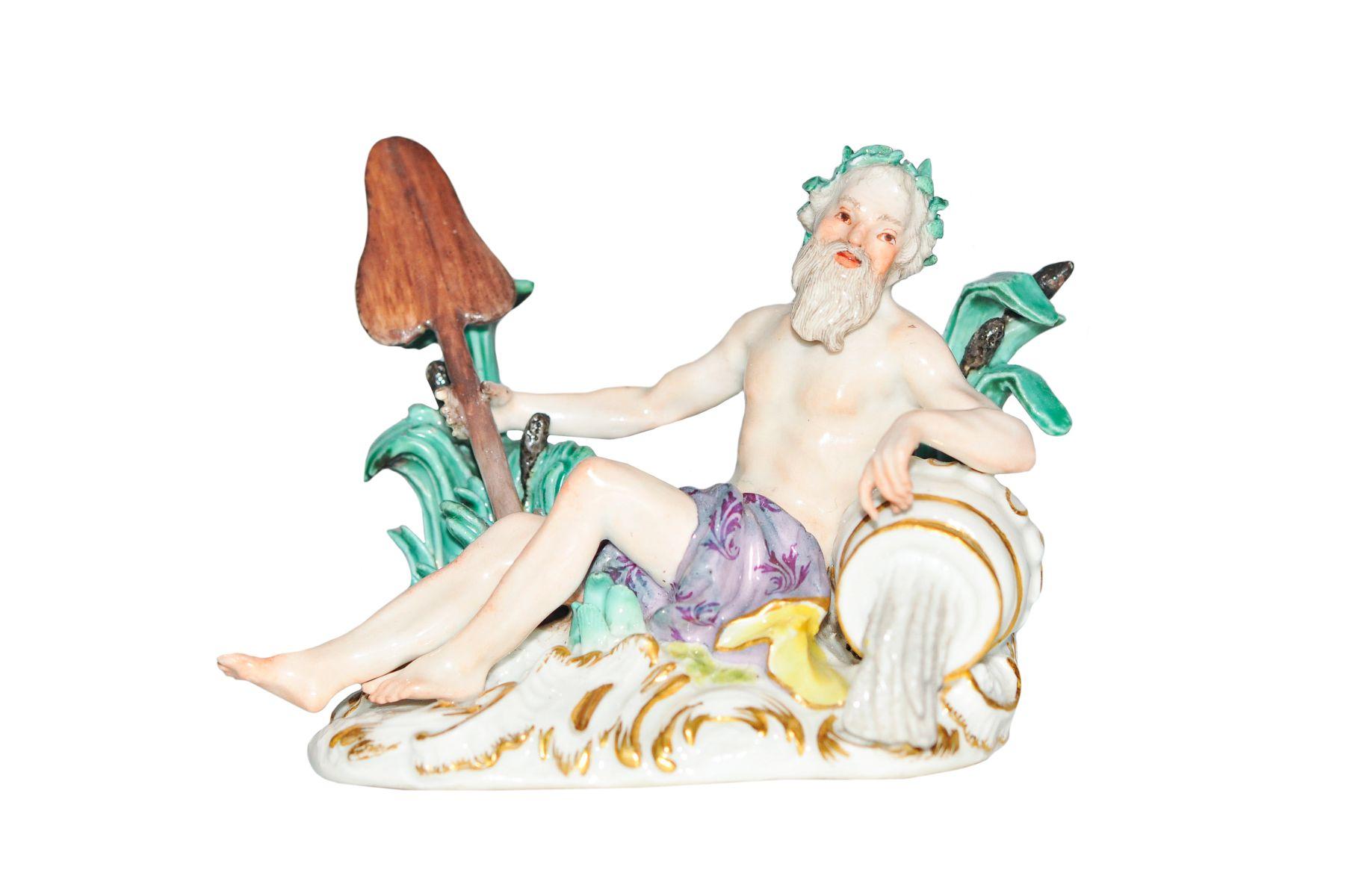 Kleine Figur Flussgott Meissen 1750