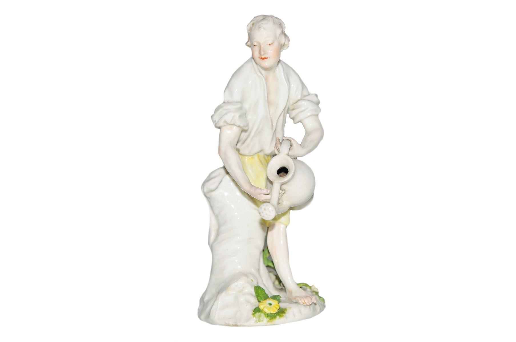 2 Figuren Gärtner und Gärtnerin mit Wasserkannen Meissen 1750 - Bild 4 aus 5