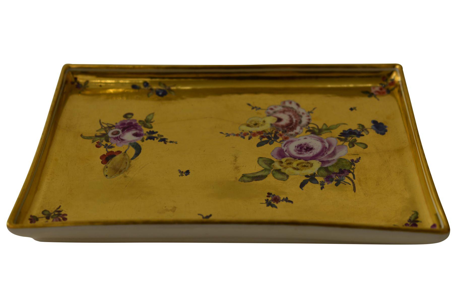 Platte Goldfond, Meissen 1740 - Bild 2 aus 5
