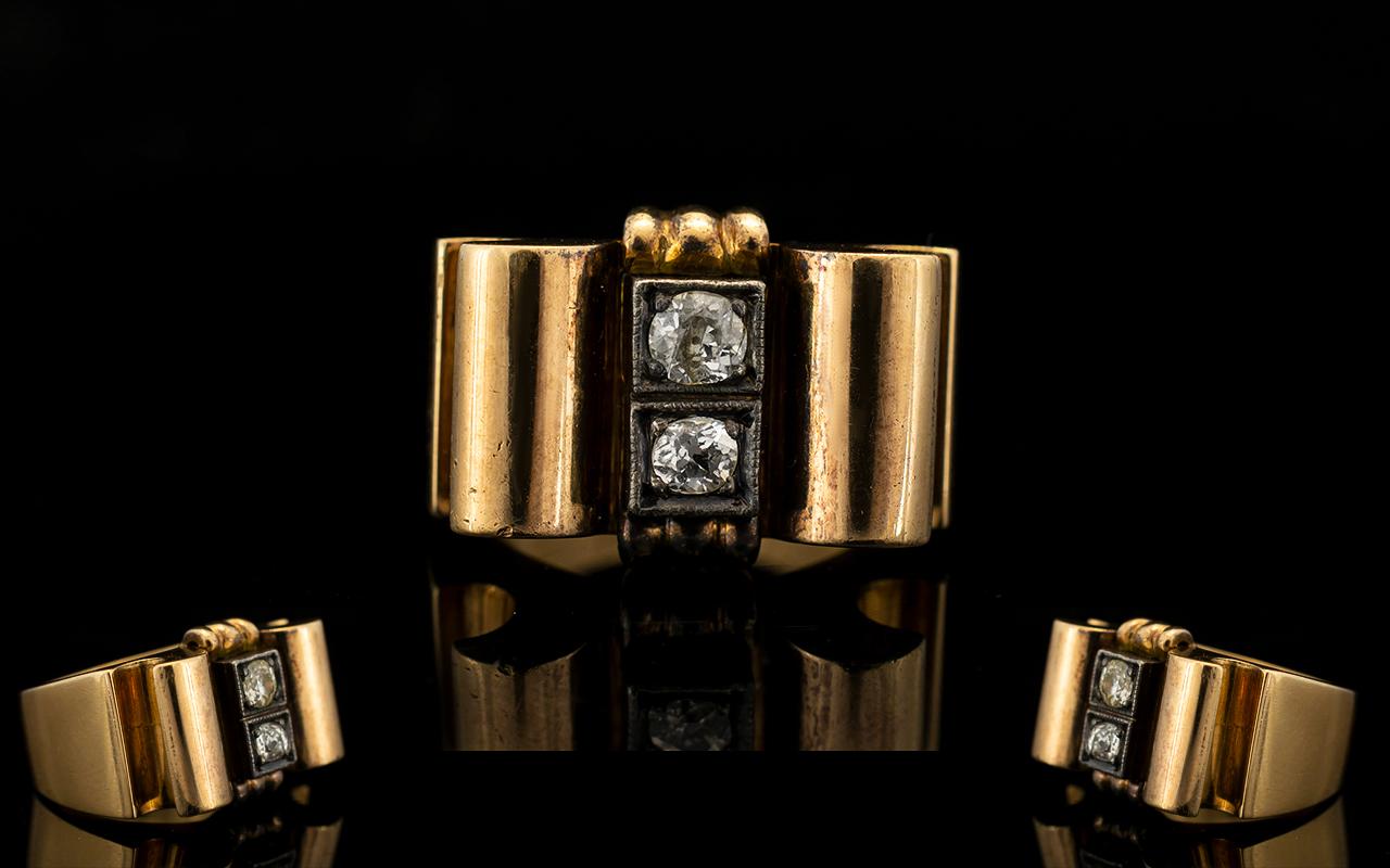 Lot 20A - 18ct Yellow Gold And Diamond Set Moderni