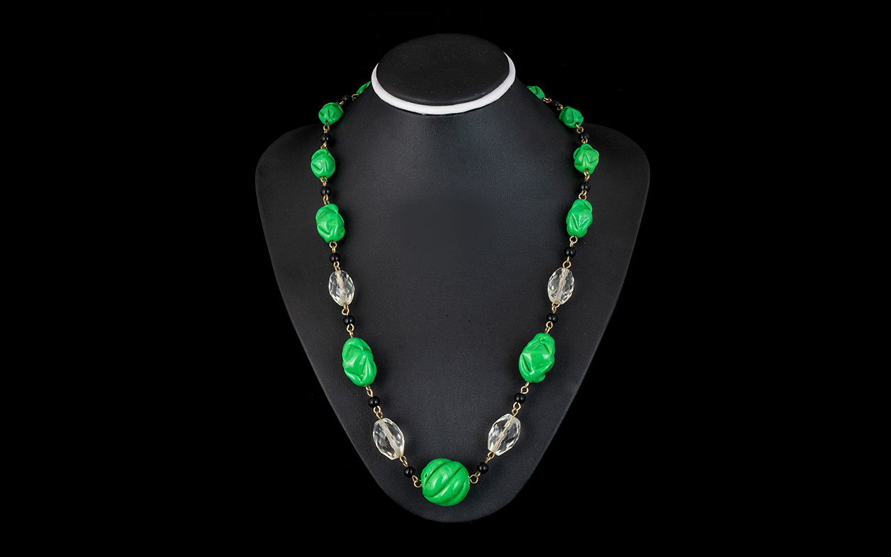 Lot 255 - Vintage Beaded Necklace, In Green, Black