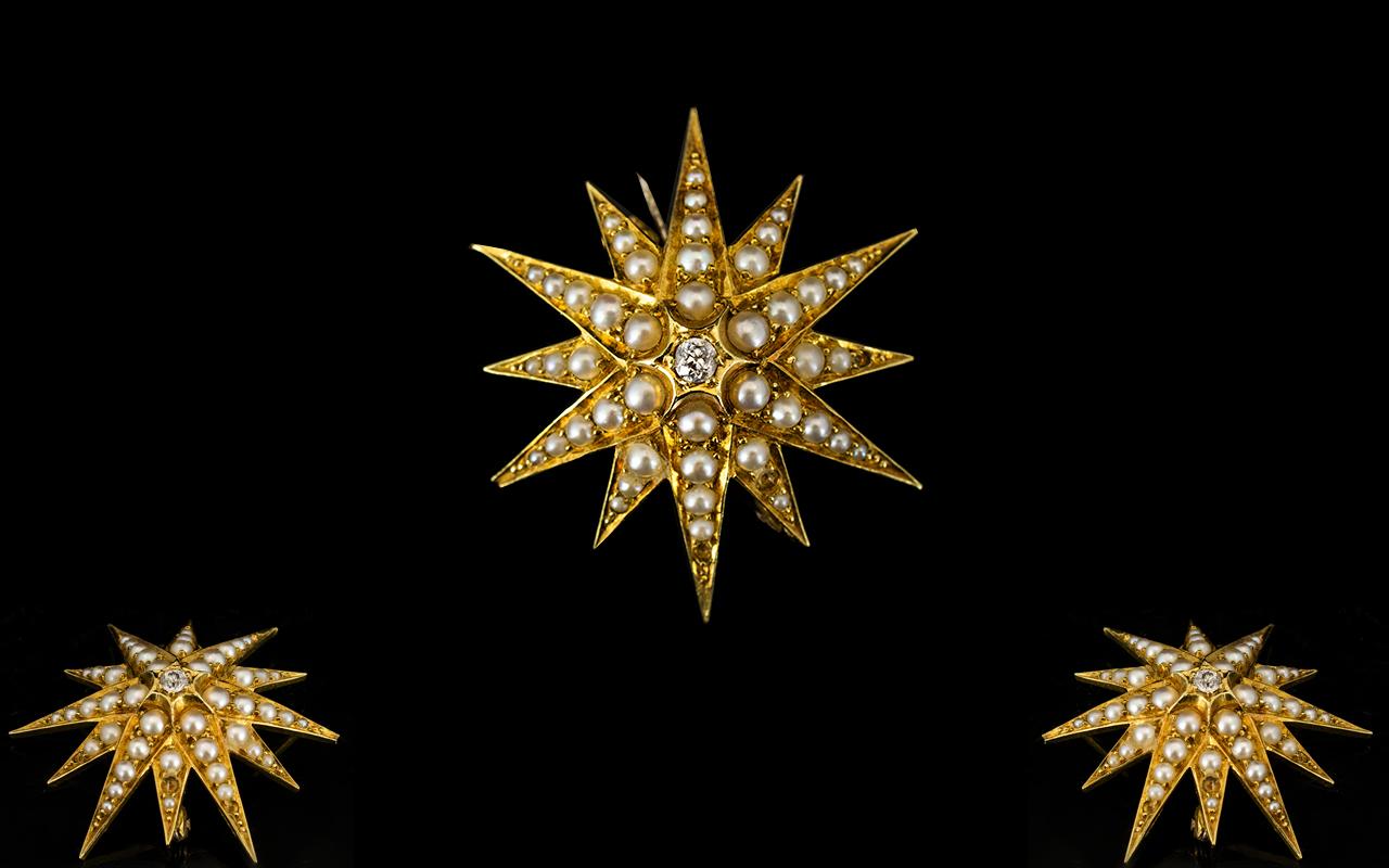 Lot 66A - Antique - 18ct Gold Starburst Diamond an