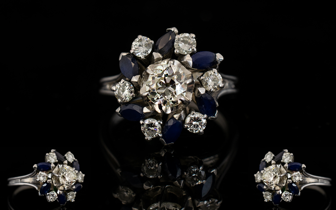 Lot 42 - 18ct White Gold Diamond And Sapphire Clu