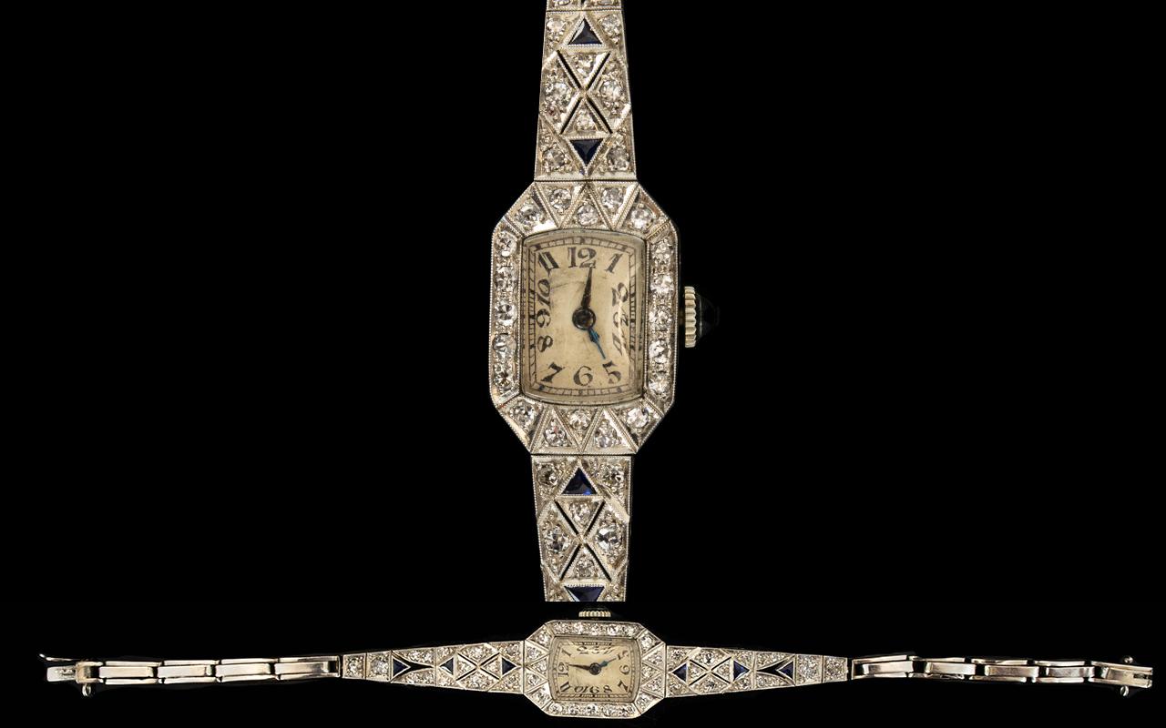 Lot 12 - Art Deco Period - Superb Platinum Sapphi