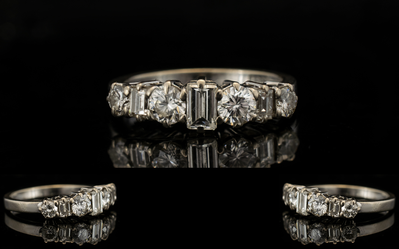 Lot 4 - 18ct White Gold Diamond Ring Half Etern