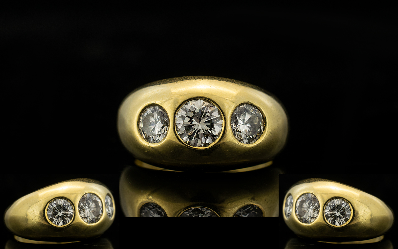Lot 74 - 18ct Yellow Gold Gentleman's 3 Stone Dia