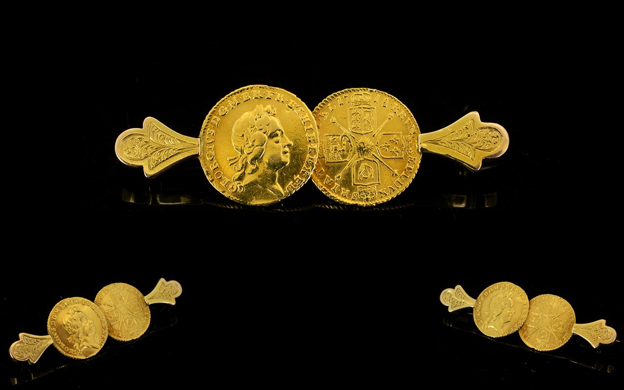 Lot 86A - George I 22ct Gold Quarter Guinea Brooch