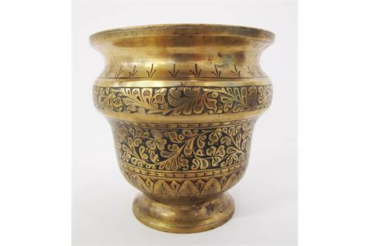 A Mughal Islamic Indian British India Brass Vase Decorated With