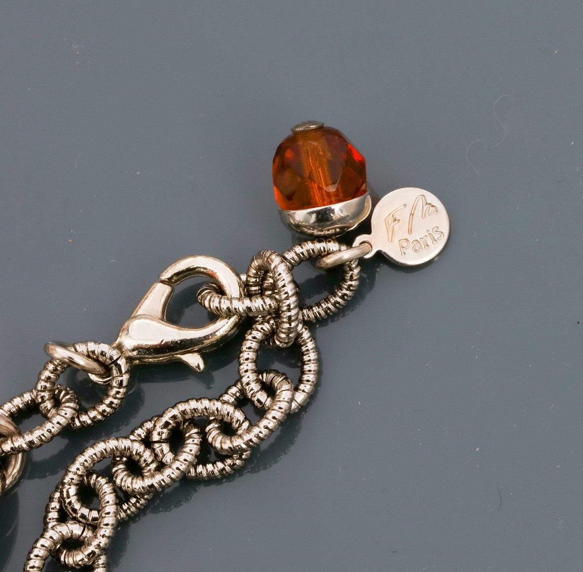 Françoise MONTAGUE, Collier de chaînes en métal rhodié entrelacées portant deux [...] - Image 2 of 2