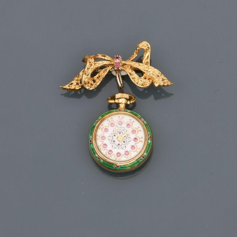 """Montre de col portée par sa broche """" Ruban """" en or jaune, 750 MM, tour du cadran et [...] - Image 2 of 2"""