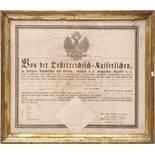Reiseschutzbrief, dat. 1812 Schutzbrief des Kaisers von Österreich mit großem Papiersiegel. In