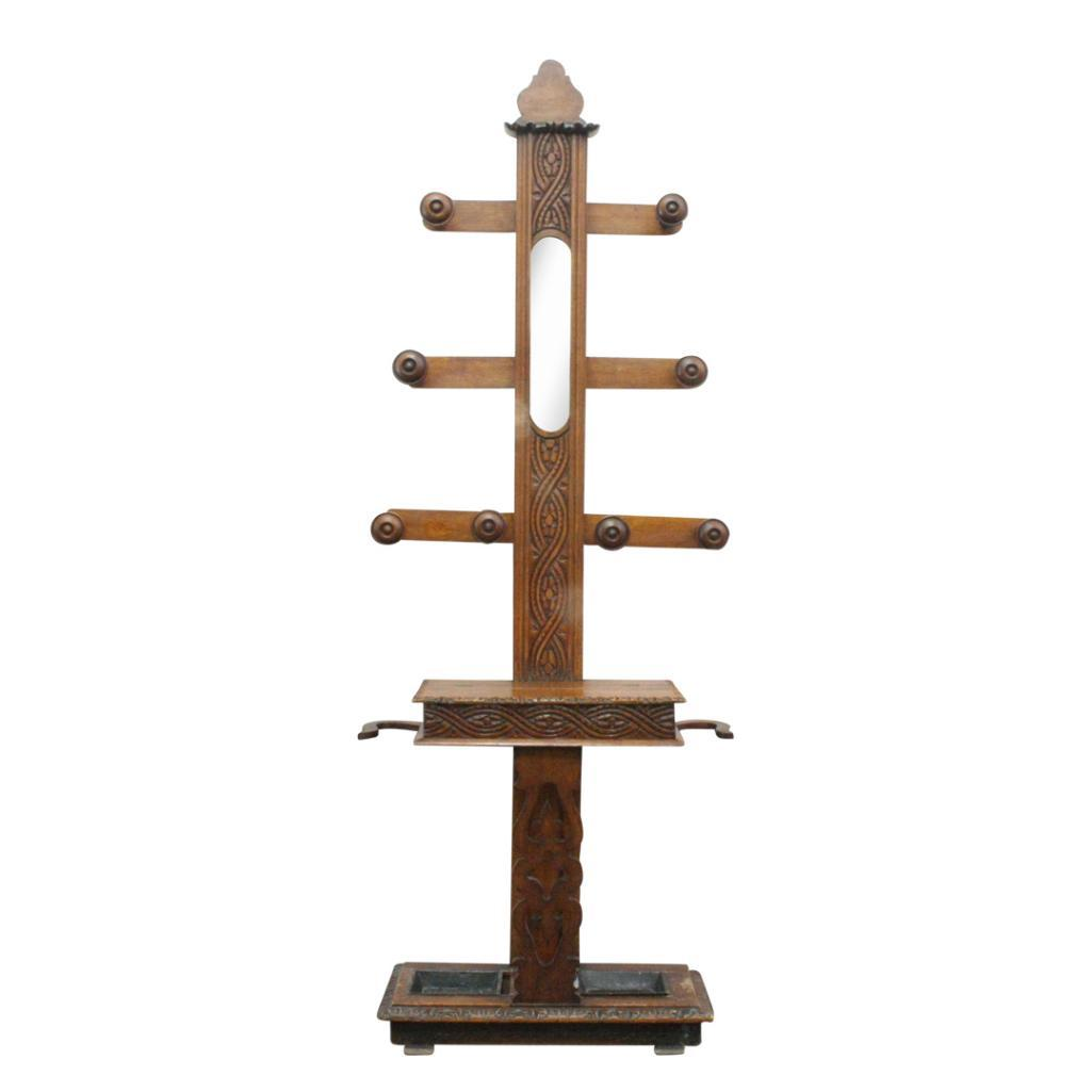 Lot 12 - LATE VICTORIAN OAK HALL STAND