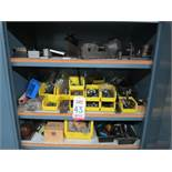 LOT - CONTENTS ONLY OF CABINET, TO INCLUDE: VISES, CHUCKS, END MILLS, LETTER STAMPS, DRILLS AND