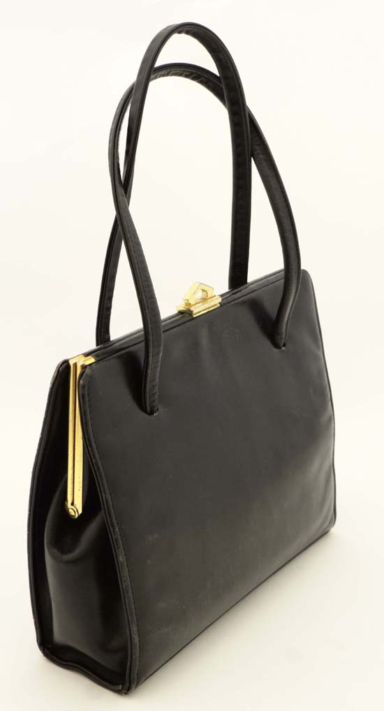 Lot 379 A Black Leather Handbag By Ackery London With Fabric Lining