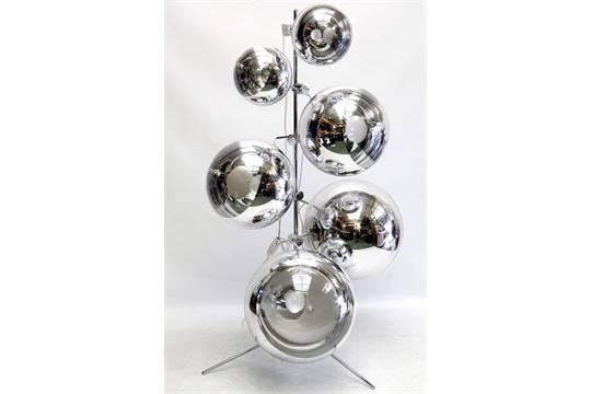 A TOM DIXON MIRROR BALL FLOOR LAMP. Consisting of 2x 50cm Mirror ...
