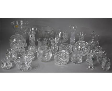 A Collection of Various Good Quality Glassware to include Royal Brierley Vases, 19th Century Fern Etched Cut Glass Example, B
