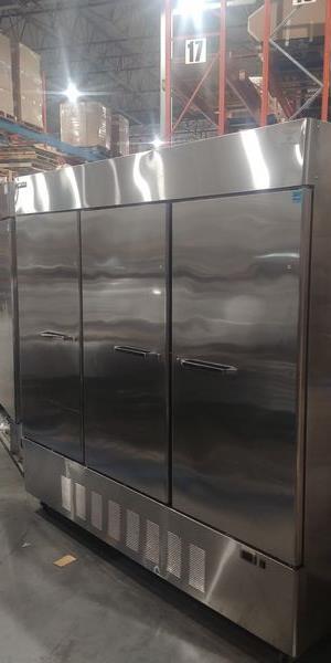 Lot 34 - Masterbilt 3 Door Stainless Steel Freezer - Note: Only 2 Shelves Inside