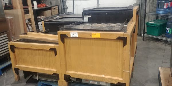 Lot 53 - Barker Approx. 6ft x 6ft Multi Tier Refrigerated Produce / Orchard Display Case with Oak Framed