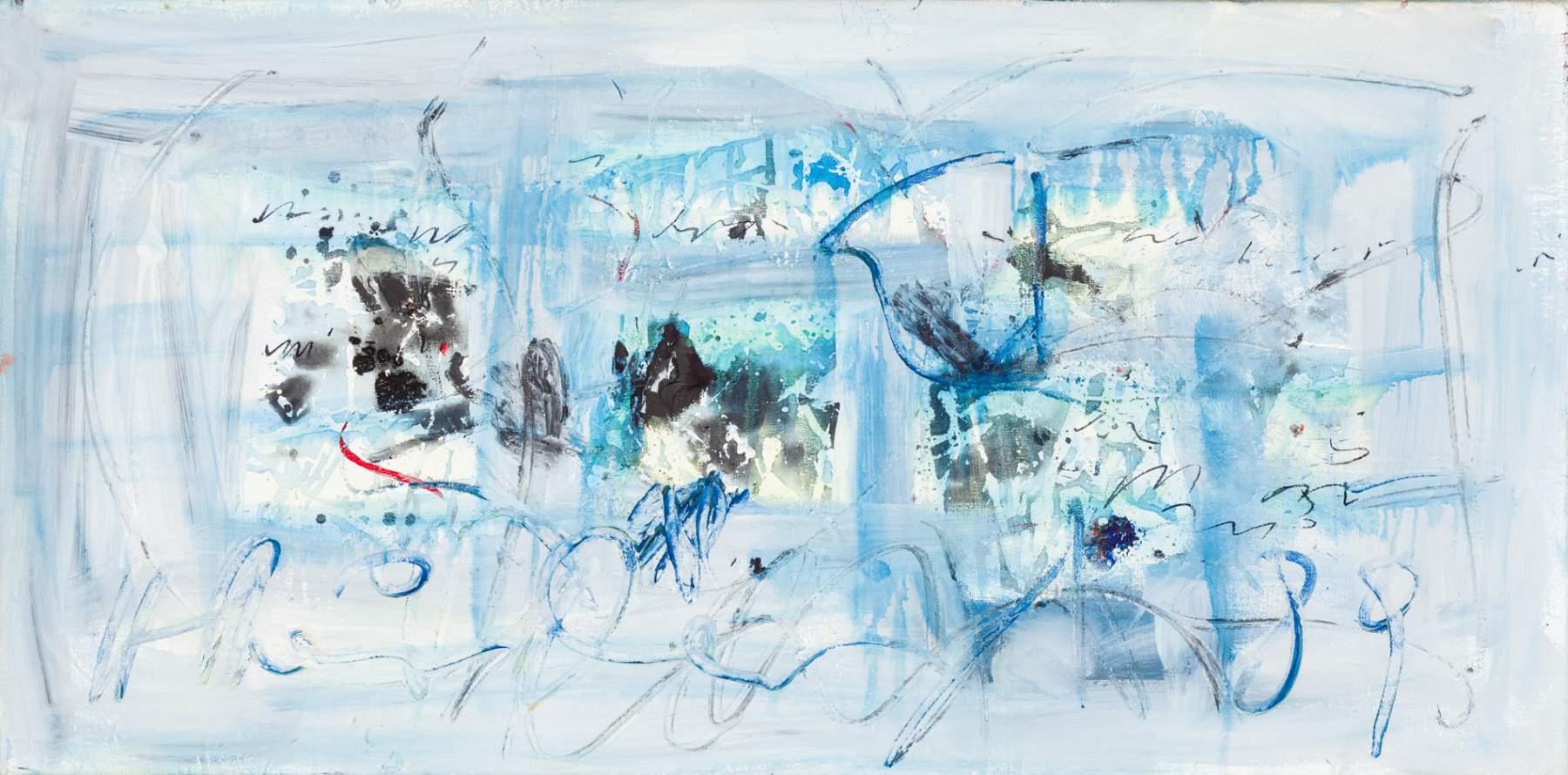 Hans Staudacher (St. Urban 1923 geb.)  (ohne Titel)  Öl auf Leinwand 50 x 100 cm 1989 unten mittig