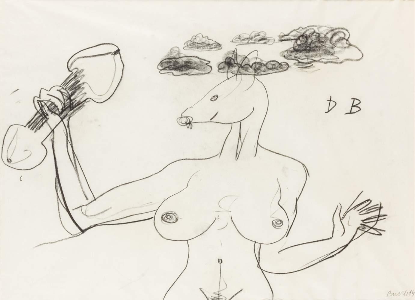 Herbert Brandl (Graz 1959 geb.)  (ohne Titel)  Kohlestift auf Papier 51 x 69,5 cm (