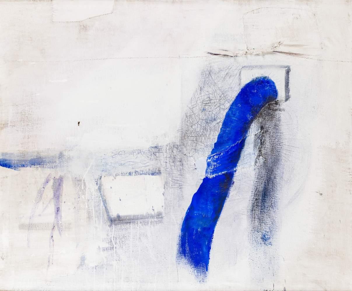 Maria Moser (Frankenburg 1948 geb.)  (ohne Titel)  Öl auf Leinwand, collagiert mit textilen