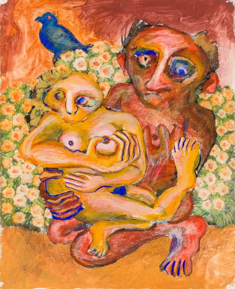 Robert Zeppel-Sperl (Leoben 1944 - 2005 Wien)  Liebespaar  (Triptychon) Mischtechnik auf dickem - Image 2 of 3
