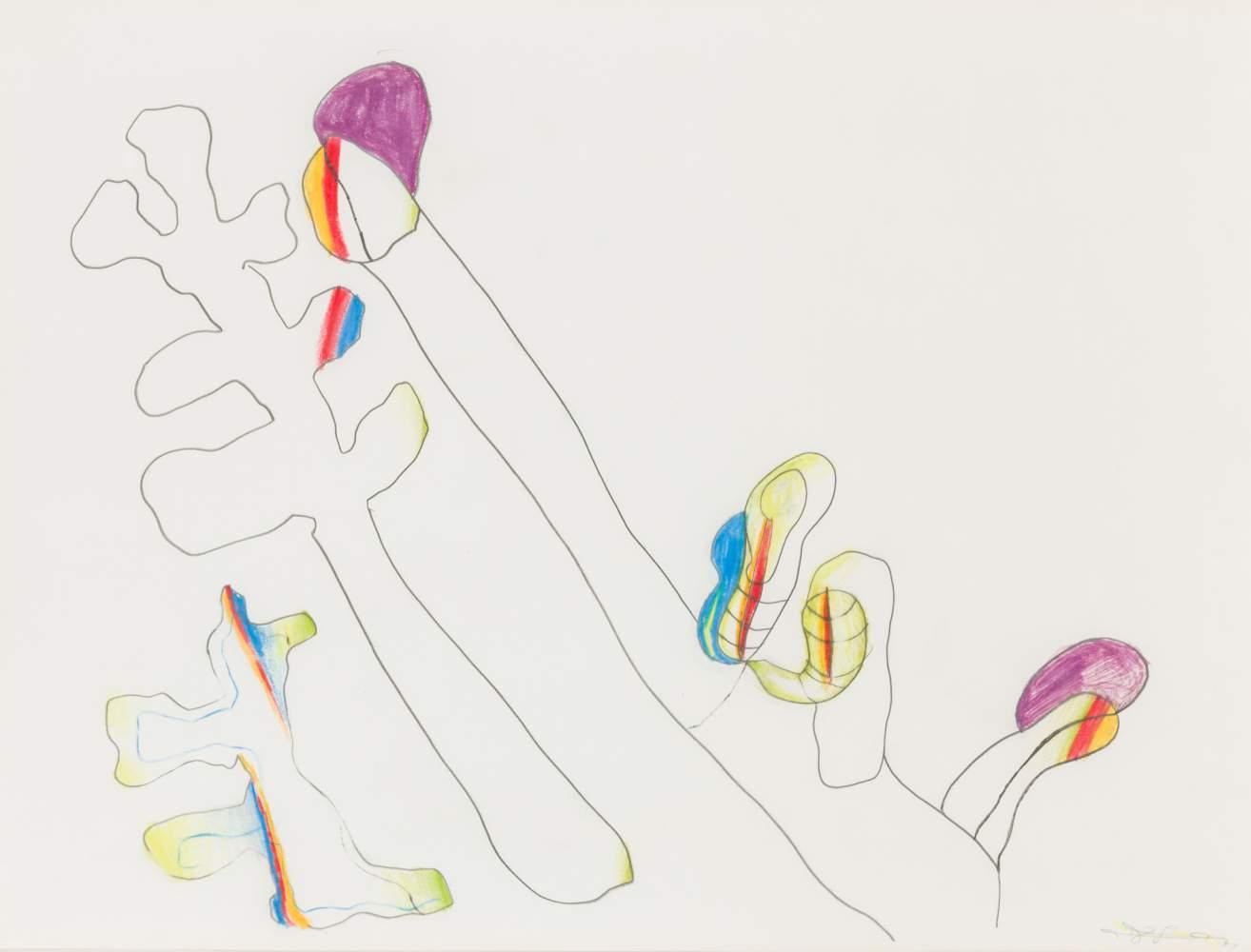 Oswald Oberhuber (Meran 1931 geb.)  (ohne Titel)  Bleistift und Buntstift auf Papier 42 x 56 cm 1989