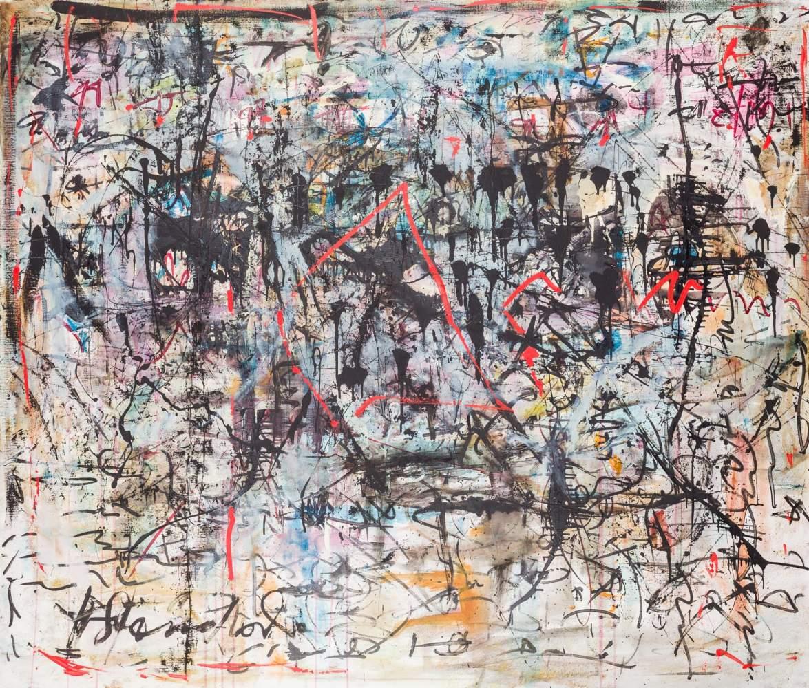 Hans Staudacher * (St. Urban 1923 geb.)  Schwarze Tränen der Achtzigerjahre Öl auf Leinwand 170 x
