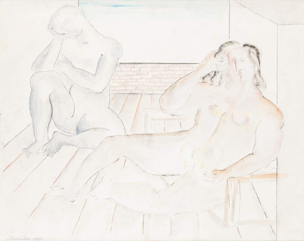 Oswald Oberhuber (Meran 1931 geb.)  Traum Öl auf Platte 61 x 75 cm 1955 links unten signiert und