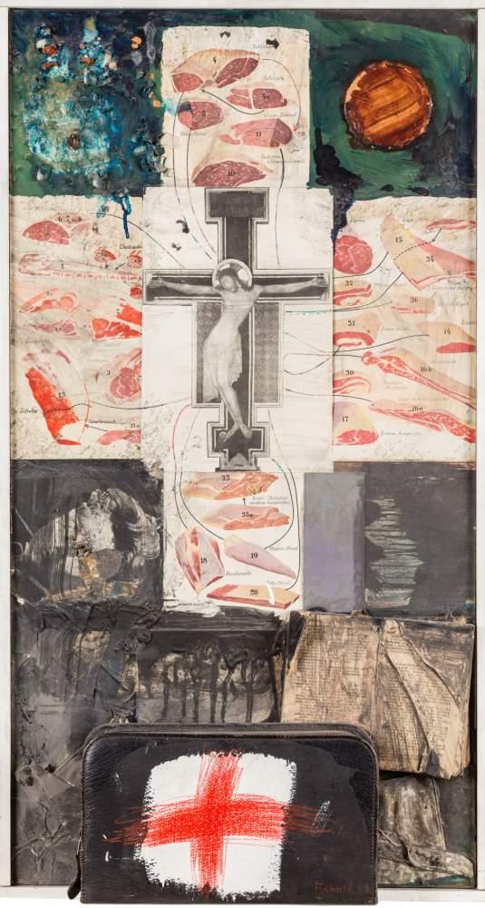 Adolf Frohner (Groß-Inzersdorf 1934 - 2007 Wien)  (ohne Titel)  Assemblage auf Hartfaserplatte 76