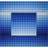 Victor Vasarely * (Pecs 1908 - 1997 Paris)  ZETT I. GREY/BLUE BASF Luran auf Aluminium 100 x 105