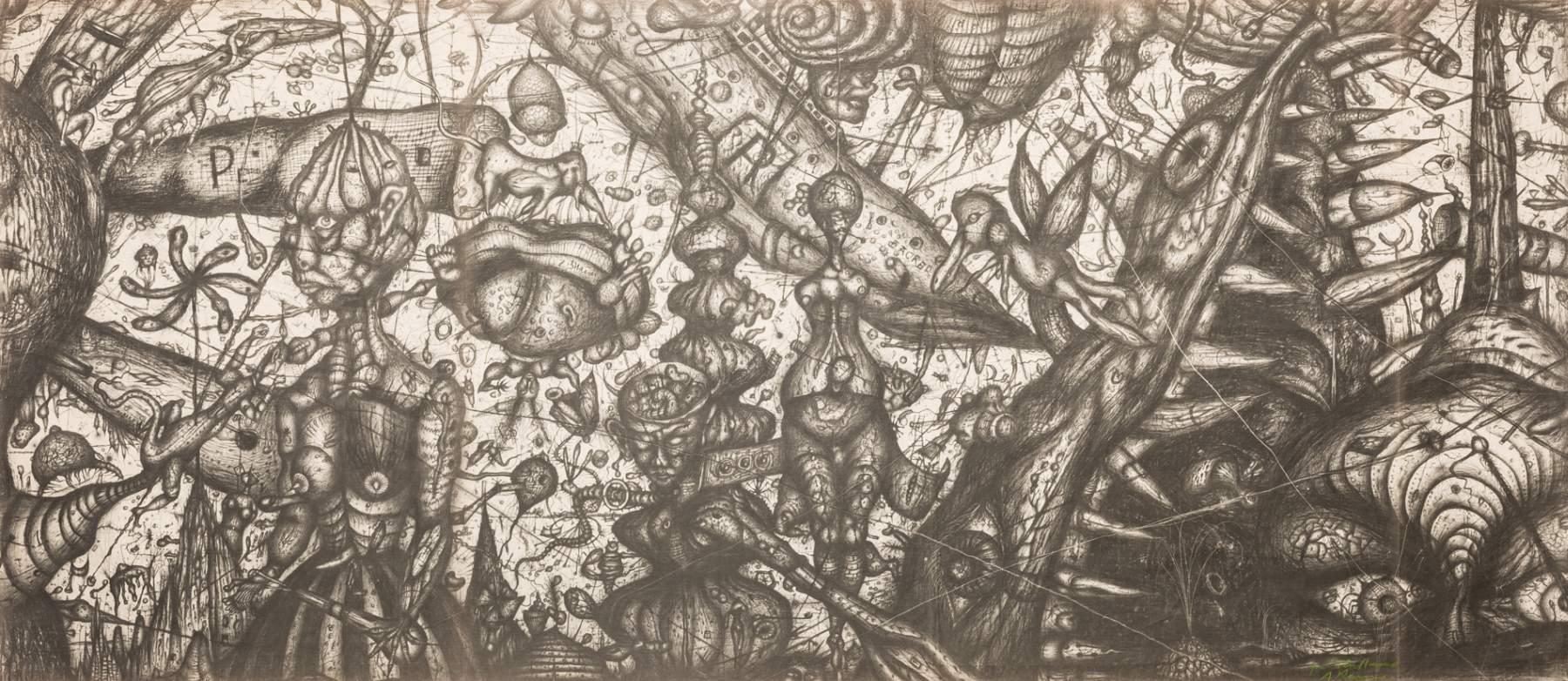 Arnulf Rainer * (Baden 1929 geb.)  Ozean! Ozean! Diazotypie auf Papier 100 x 229 cm 1950/51 rechts