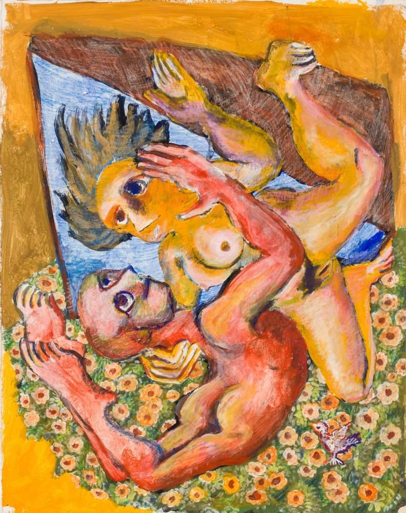 Robert Zeppel-Sperl (Leoben 1944 - 2005 Wien)  Liebespaar  (Triptychon) Mischtechnik auf dickem - Image 3 of 3