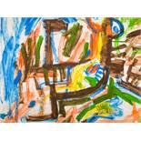 Siegfried Anzinger (Weyer 1953 geb.)  (ohne Titel)  Öl auf Papier 70 x 92 cm 1980 zweimal signiert
