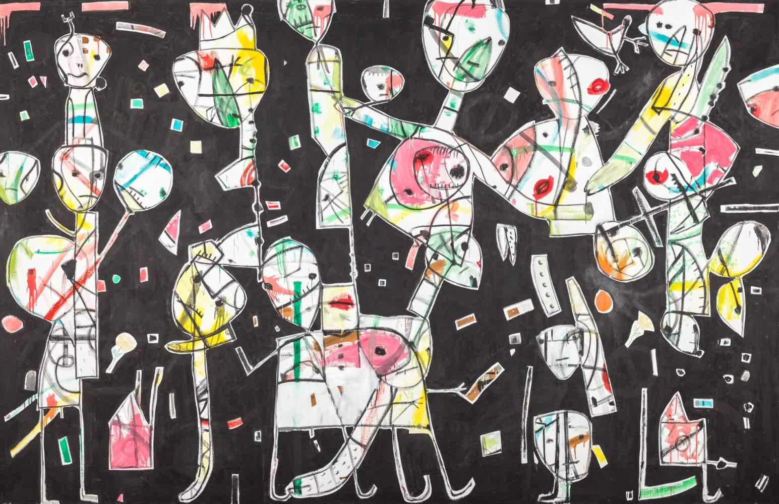 Anselm Glück * (Linz 1950 geb.)  Befruchtungsriten 7 Öl auf Leinwand 200 x 300 cm 1993 rückseitig
