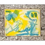 Pierre Alechinsky * (Brüssel 1927 geb.)  D'un coup d'Aile (Plötzlich Flügel) Acryl auf Leinwand