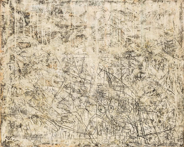 Franz Part (Wien 1949 geb.)  Landschaft mit Figuren Mischtechnik und Collage auf Jute (