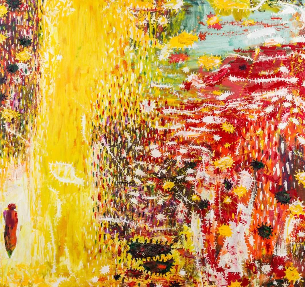 Gunter Damisch * (Steyr 1958 geb.)  Gelbfeldbetrachterflimmern Öl auf Leinwand 150 x 160 cm 2000/