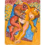 Robert Zeppel-Sperl (Leoben 1944 - 2005 Wien)  Liebespaar  (Triptychon) Mischtechnik auf dickem