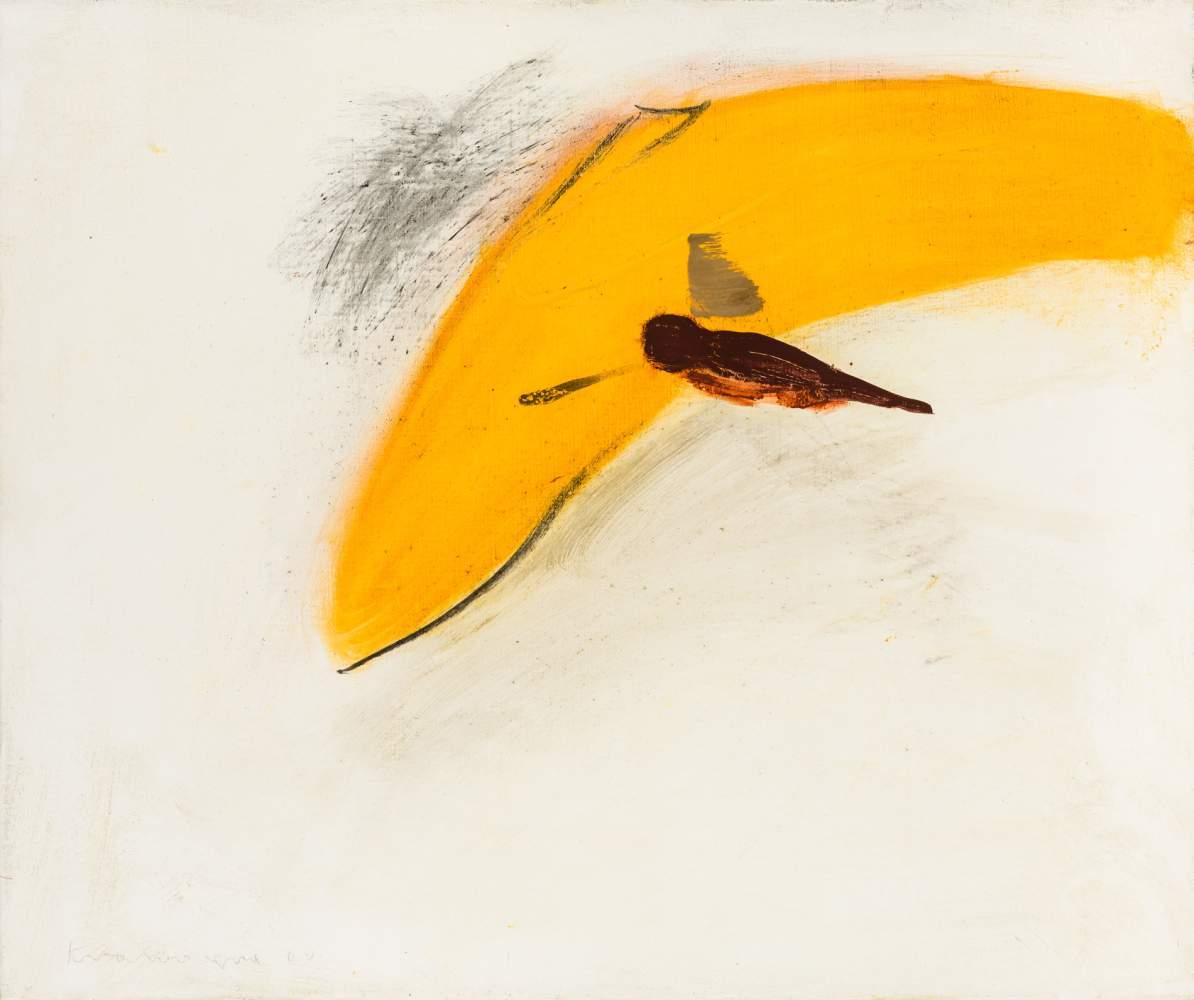 Peter Krawagna (Klagenfurt 1937 geb.)  Drachenflieger Öl auf Leinwand 60 x 72 cm 2000 links unten