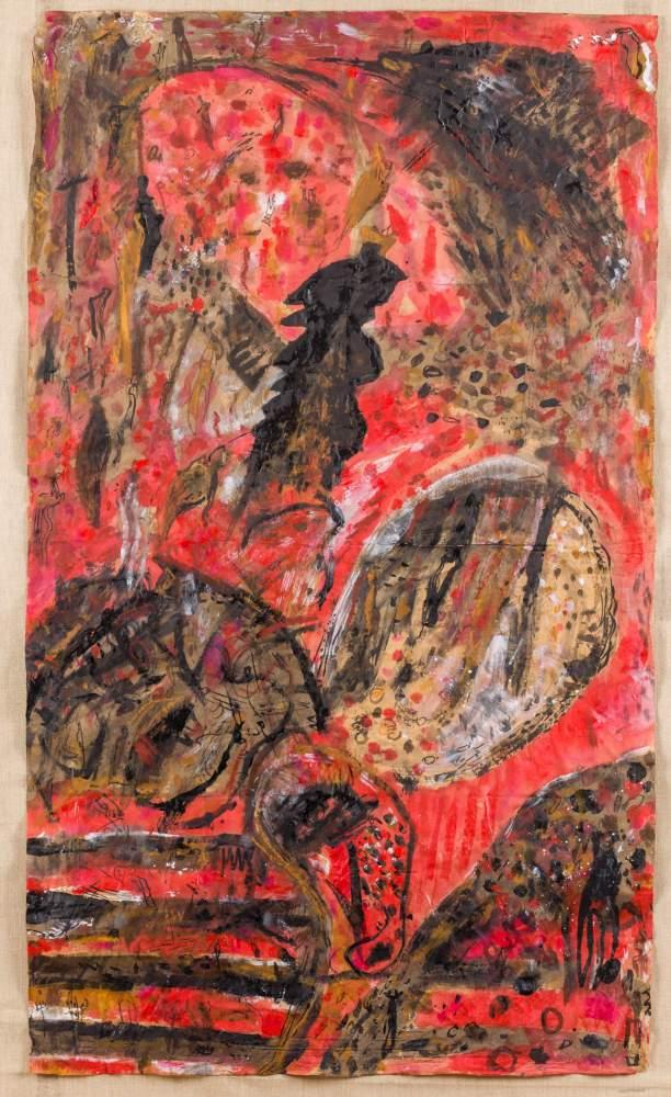 Gunter Damisch * (Steyr 1958 geb.)  (ohne Titel)  Mischtechnik auf Papier 141 x 83,5 cm 1983