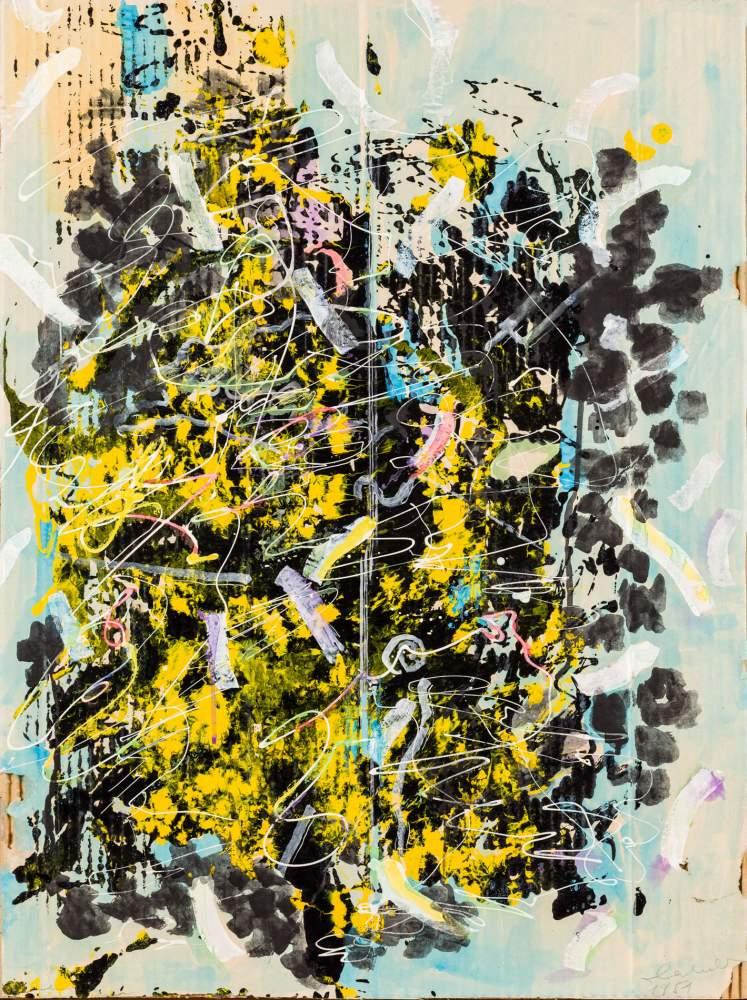 Oswald Oberhuber (Meran 1931 geb.)  (ohne Titel)  Mischtechnik auf Papier auf Karton 79,5 x 60 cm