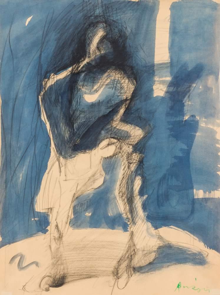 Siegfried Anzinger (Weyer 1953 geb.)  Schritt in den Schatten Mischtechnik auf Papier  56 x 41,5